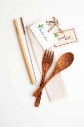 Coco - Coco Çatal - Kaşık - Pipet - Pipet Temizleme Fırçası Set