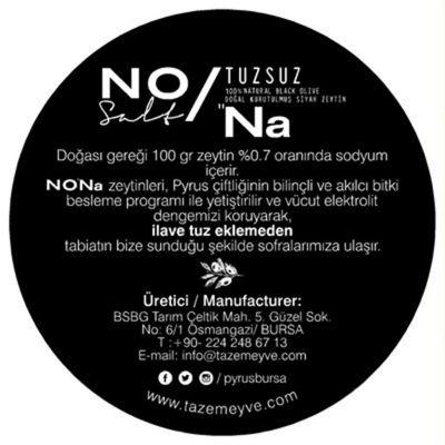 Nona %100 Tuzsuz Doğal Siyah Zeytin (480 gr)